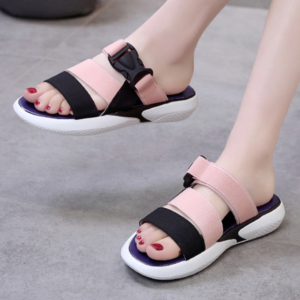 Buckle Casual Sports Summer Wear Slippers - Pink