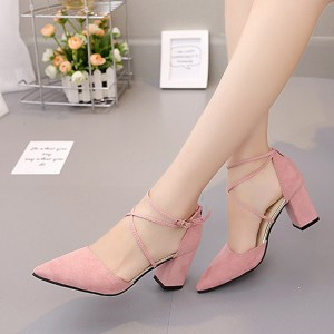 Double Straps Over Buckle Closure High Heels Sandals - Pink