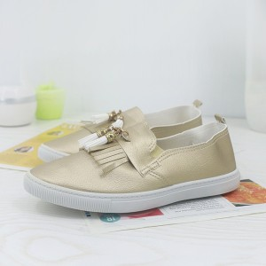 Tassel Synthetic Leather Flat Wear Fashion Shoes - Golden