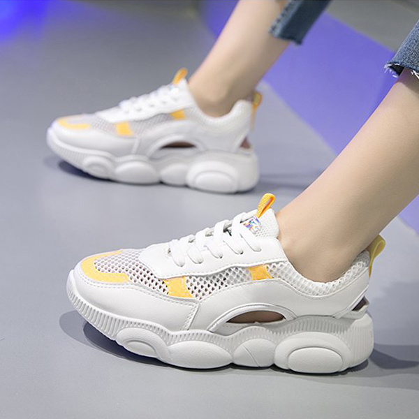 Cut Out Soft Sole Casual Wear Sneakers - Yellow
