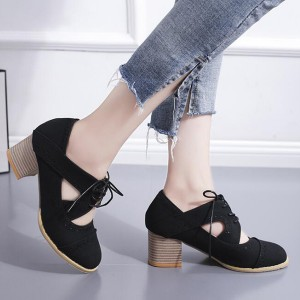 Hollow Suede Lace Up Thick Bottom Shoes - Black