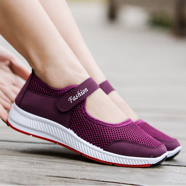 Velcro Breathable Sports Casual Sports Sneakers - Purple