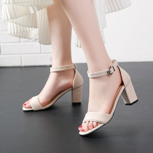 Buckle Closure High Heels Rubber Sole Women Sandals - White