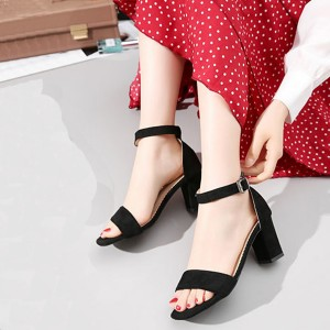 Buckle Closure High Heels Rubber Sole Women Sandals - Black