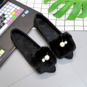 Furry Pearl Flat Wear Casual Shoes - Black