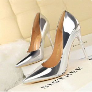Patent Shiny Leather High Heels Women Shoes - Silver