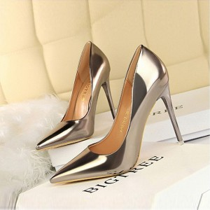 Patent Shiny Leather High Heels Women Shoes - Bronze