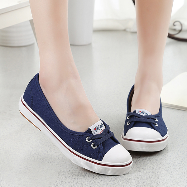 Women Flat Cotton Fabric Loafers Shoes Casual Girl Shoes Blue