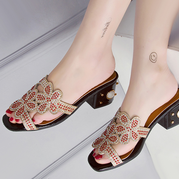 Pearl Party Wear Decorated Sandals - Red