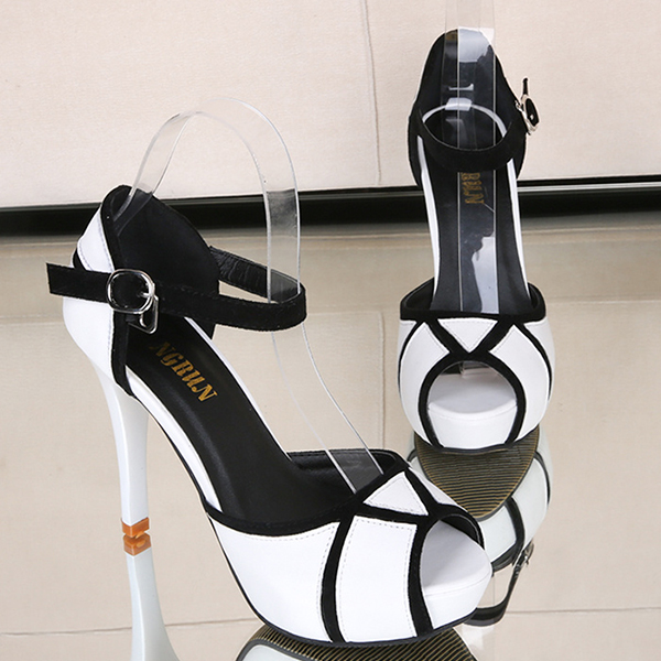 Buckle Closure Black And White High Heel Sandals
