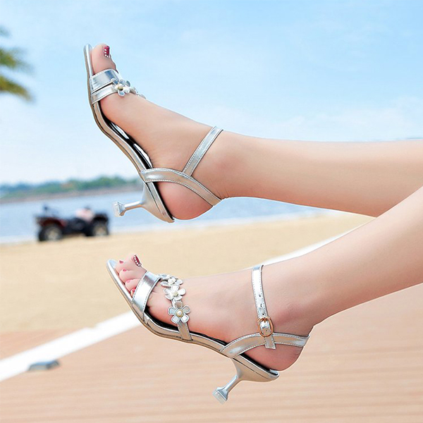 Floral Patched Buckle Pencil Heel Sandals - Silver