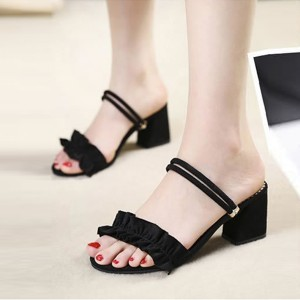 High Heels Buckle Closure Party Wear Women Sandals - Black