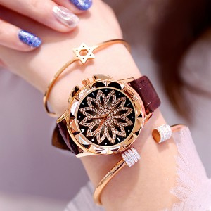 Crystal Floral Dial Luxury Party Wear Watch - Brown