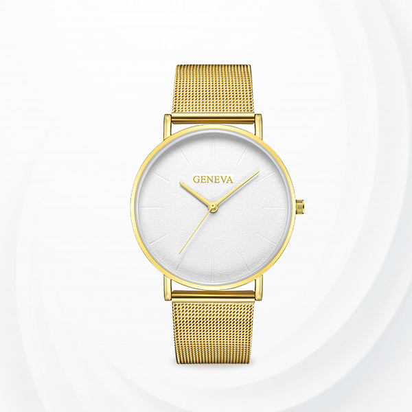 Mesh Strapped Classic Analogue Watches - Golden