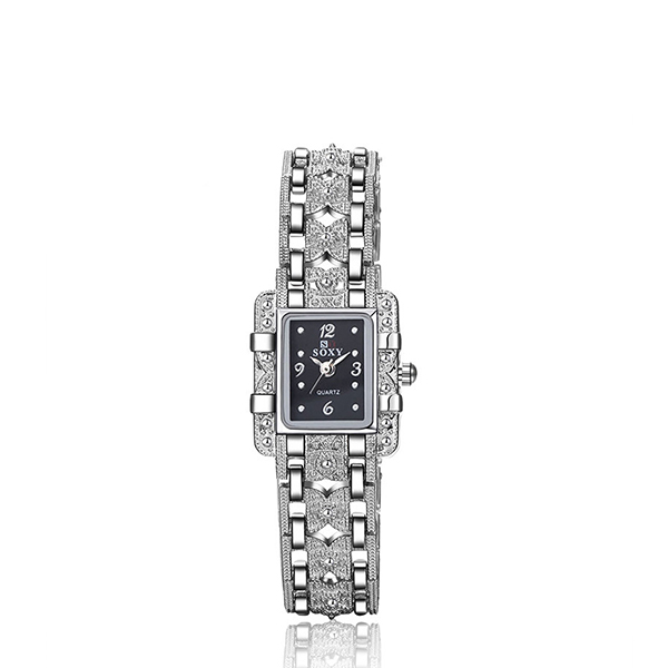 Square Shaped Crystal Decorated Bracelet Watch - Black
